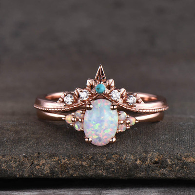 opal engagement ring set
