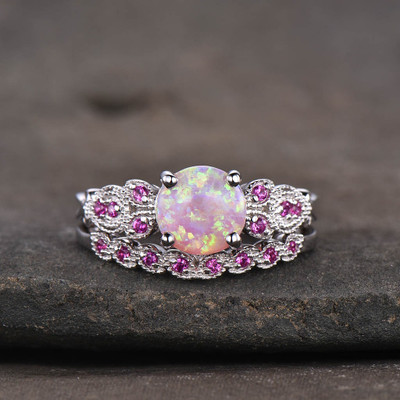 Opal Engagement Ring Sets