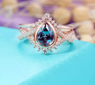 Alexandrite engagement ring set rose gold
