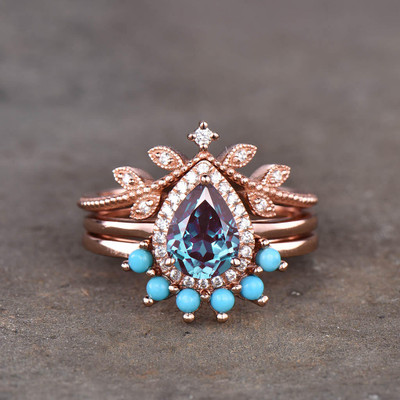 Alexandrite and diamond engagement ring
