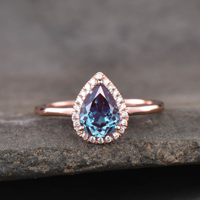 lab alexandrite engagement ring