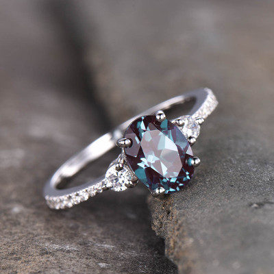 three stone alexandrite engagement ring