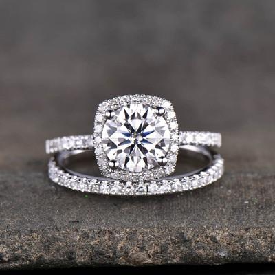 moisssanite bridal set white gold-BBBGEM cushion cut moissanite engagement ring