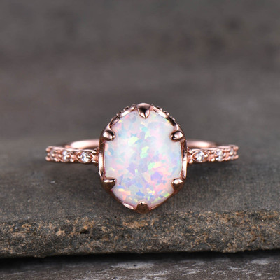 Solitaire Opal Engagement Ring