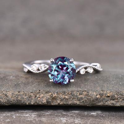 Milgrain Round Alexandrite Engagement Ring Classic