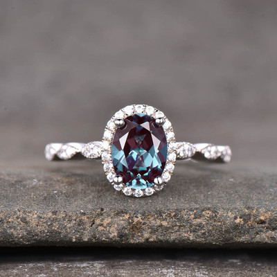 oval cut Alexandrite Halo Diamond Engagement Ring