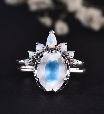 rainbow moonstone engagement ring
