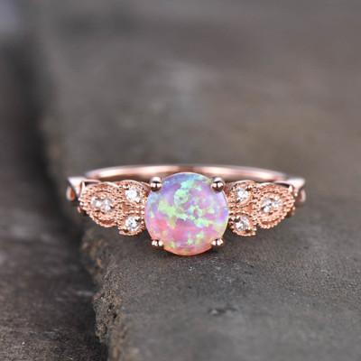pink opal engagement ring