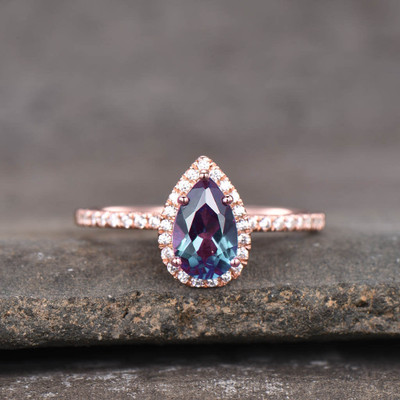 Pear Shaped Alexandrite Engagement Ring