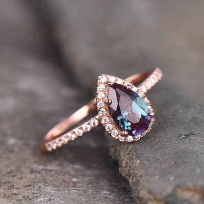 Pear Shaped Alexandrite Halo Diamond Engagement Ring
