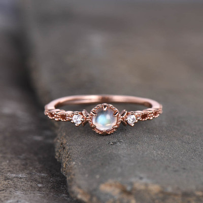 three stone moonstone ring