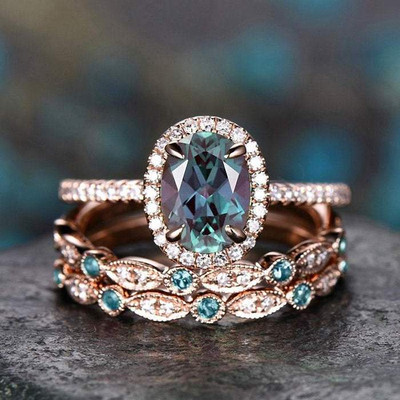 3pcs alexandrite bridal ring set