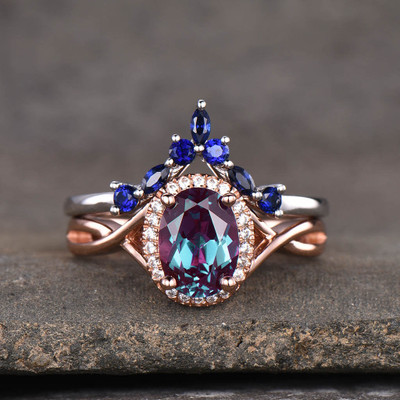 Alexandrite Engagement Ring Set