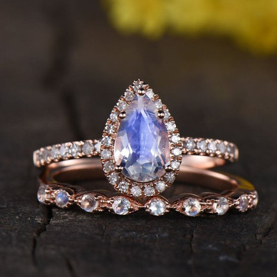 Rainbow moonstone engagement ring set