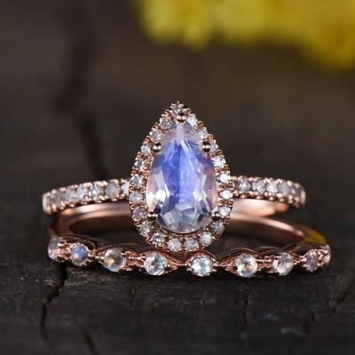 Rainbow moonstone engagement ring set-BBBGEM Pear Shaped Moonstone Engagement Ring