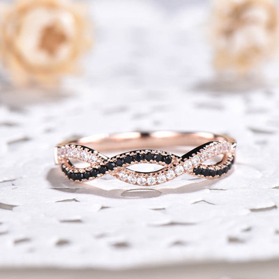 black diamond eternity band-BBBGEM Twisted Infinity Diamond Wedding Bands