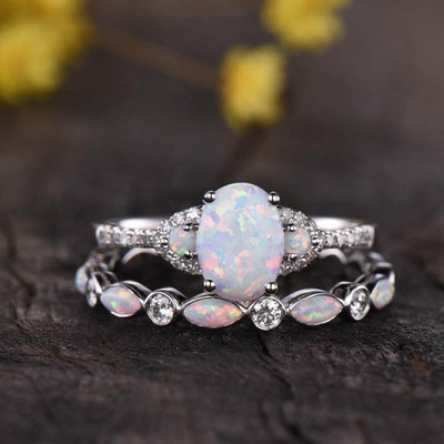 opal engagement ring set white gold 0