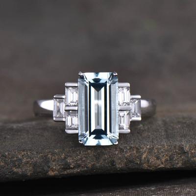 vintage aquamarine engagement ring-BBBGEM Emerald Cut Aquamarine Ring