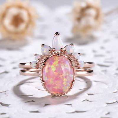 Pink opal engagement ring set
