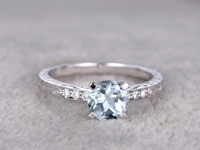 White Gold Aquamarine Engagement Rings