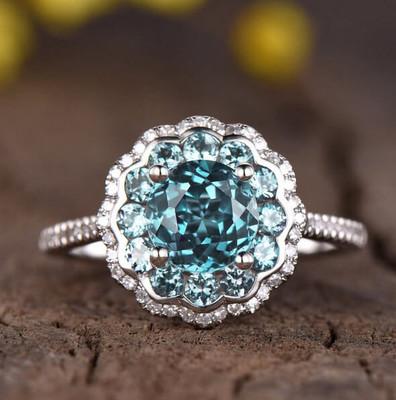 Alexandrite engagement ring white gold-BBBGEM Halo Alexandrite Ring