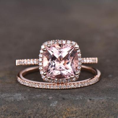 Rose Gold Morganite Wedding Set-BBBGEM Pink Morganite Engagement Ring