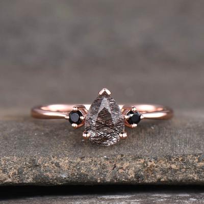 Black Rutilated Quartz Engagement Rings-BBBGEM Three Stone Black Rutilated Quartz Wedding Ring