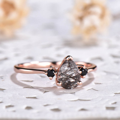 Three Stone Black Rutilated Quartz Black Diamond Engagement Rings