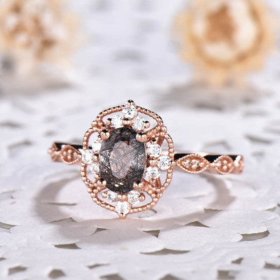 Black Rutilated Quartz Engagement Rings