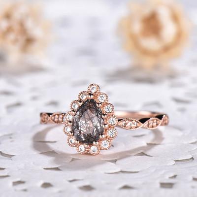 Classic Black Rutilated Quartz Diamond Halo Engagement Rings
