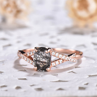 Infinity Oval Black Rutilated Quartz Diamond Engagement Rings