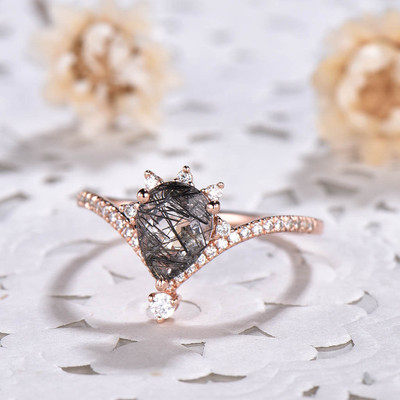 Art Deco Black Rutilated Quartz Engagement Rings