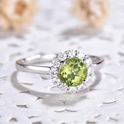 Peridot And Diamond Ring-BBBGEM Halo Moissanite Peridot Ring