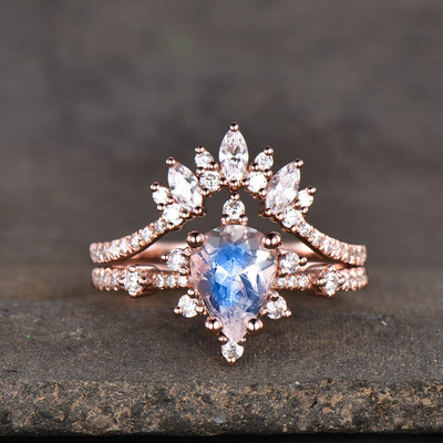 14K/18K Gold Pear Shaped Moonstone Diamond Art Deco Engagement Ring Set