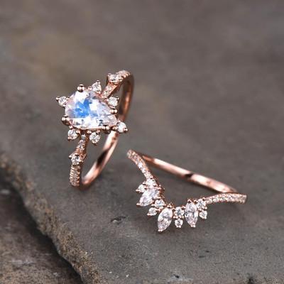 Art Deco Engagement Ring Set