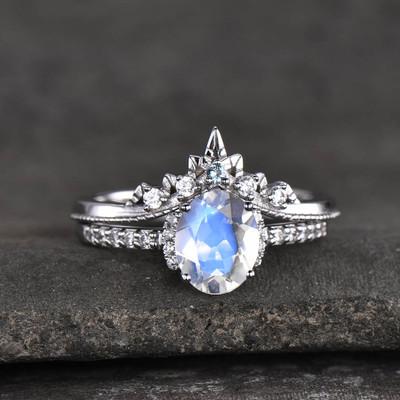 rainbow moonstone engagement ring set