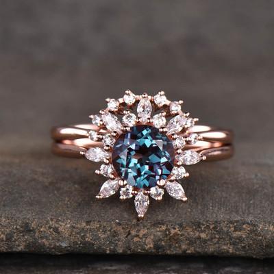 Floral Alexandrite Wedding 2 Piece Ring Set- BBBGem Alexandrite Rings