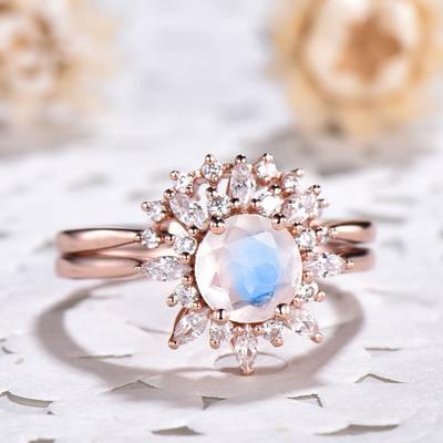 female moonstone engagement ring set