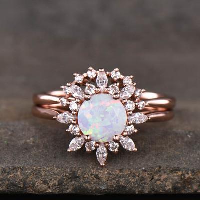 opal wedding ring-BBBGEM Opal Engagement Ring Set
