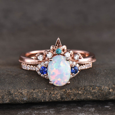 opal engagement ring set 0