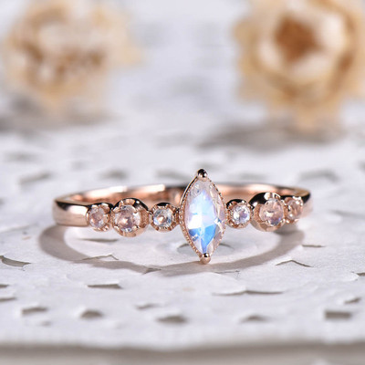 marquise moonstone engagement ring set 0