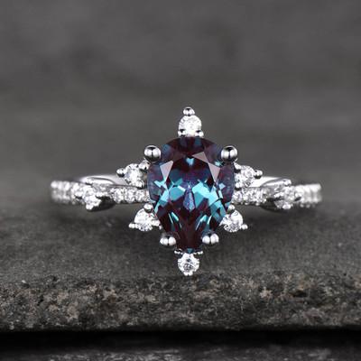 art deco alexandrite engagement ring set 04- BBBGEM Pear Shaped Alexandrite Ring