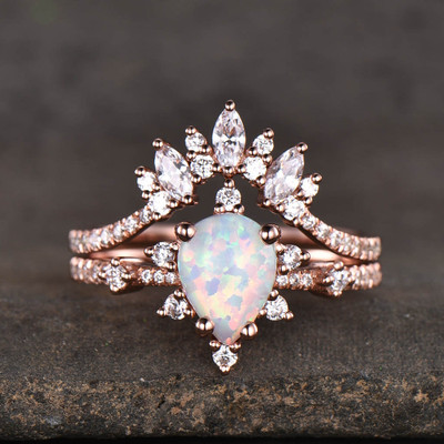 14K/18K Gold Pear Shaped Lab White Opal Diamond Art Deco Engagement Ring 0
