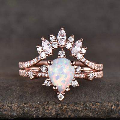 Rose Gold Opal Engagement Rings-BBBGEM Teardrop Opal Ring