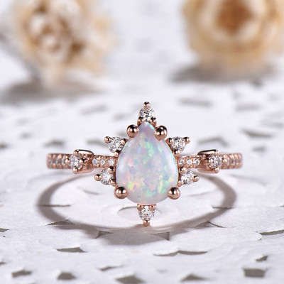 White Opal Engagement Ring Art Deco 0