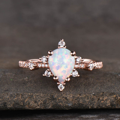 White Opal Engagement Ring Art Deco 02