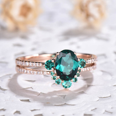 Three Emerald Engagement Ring Set 0