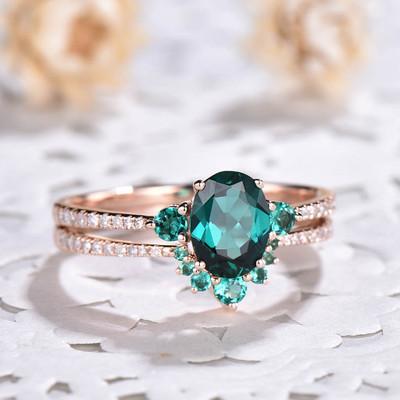 Green Emerald Ring-BBBGEM Three Stone Emerald Wedding Set
