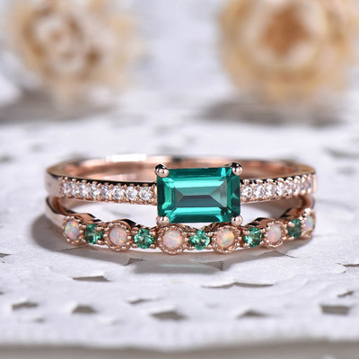 Baguette Cut Emerald Engagement Ring Set 0