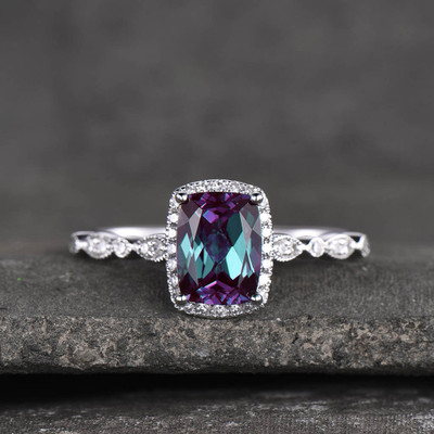 cushion alexandrite diamond halo engagement ring 0